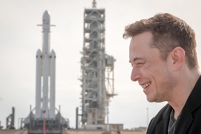 Elon Musk being interviewed by Ars Technica's Senior Space Editor Eric Berger at Launch Complex 39A inside NASA's Kennedy Space Center the day before the rockets' maiden flight.