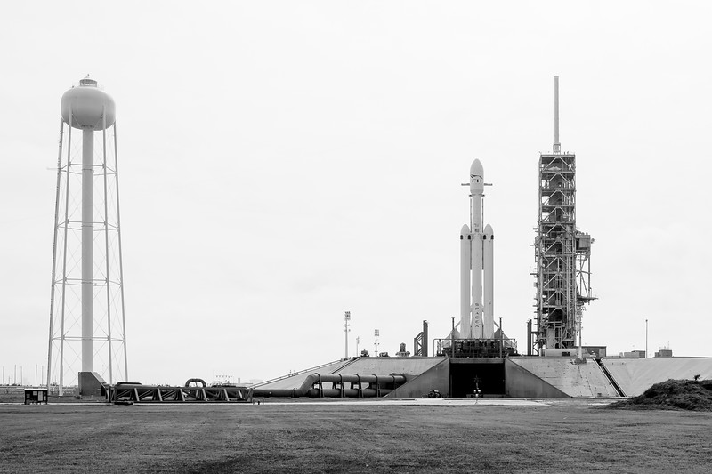 Falcon Heavy standing tall on the launch pad the day before its inaugural launch.