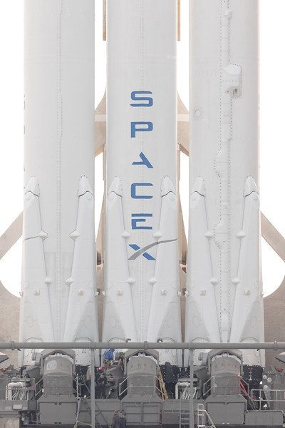 Telephoto view of SpaceX's Falcon Heavy standing tall on the launch pad the day before its inaugural launch.