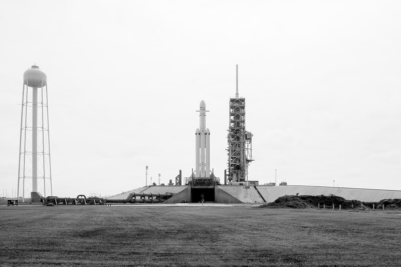 Falcon Heavy standing tall on the launch pad the day before its inaugural launch. (Black & White)