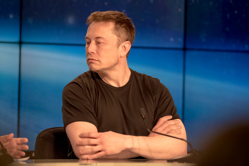 SpaceX's CEO and Lead Designer, Elon Musk, at the Falcon Heavy press conference held post-launch.