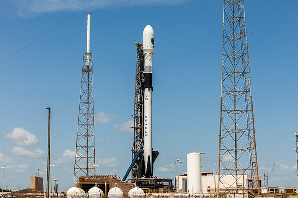 Falcon 9 B1060.1 standing vertically on LC-40 at Cape Canaveral Air Force Station in advance of the GPS-III SV03 launch for the United States Air Force.
