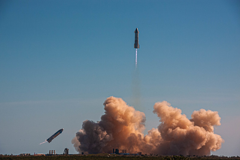 Liftoff of the Starship SN9 10km test flight at SpaceX's South Texas launch site.