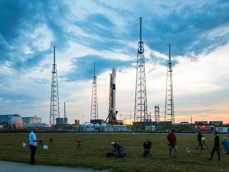 Members of the media scurrying about Space Launch Complex-40 to set up their remote launch pad cameras like chickens with their heads cut off in advance of the Telstar 19 VANTAGE mission.