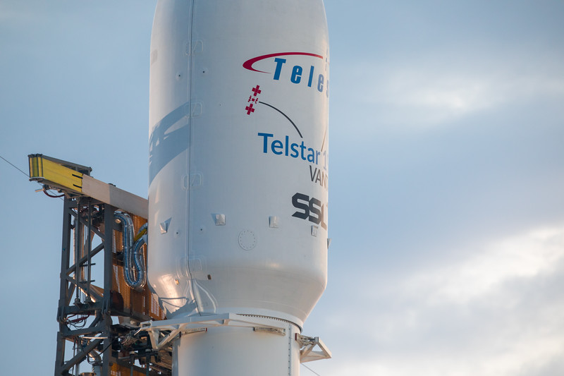 Close-up view of the Telstar 19 VANTAGE payload fairing hours before launch atop the SpaceX Falcon 9 rocket.