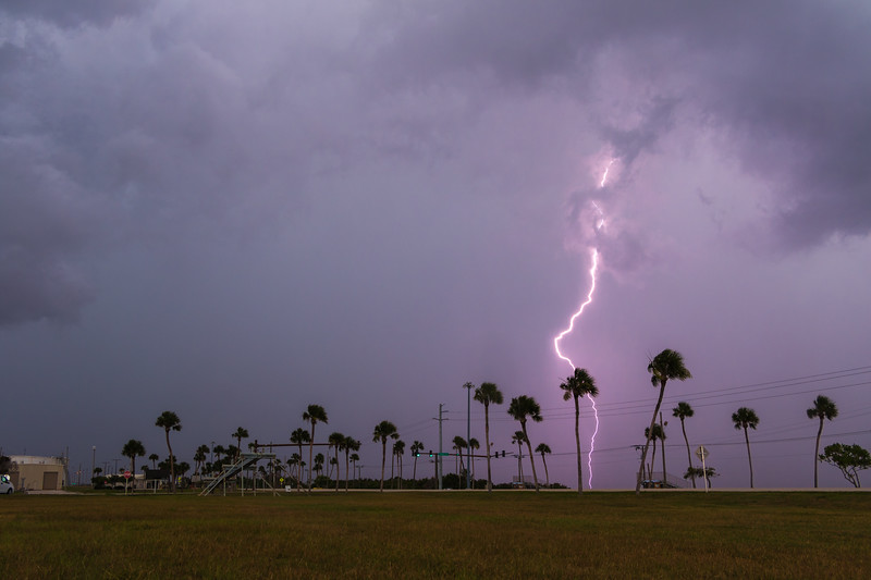 Lightning strikes to the west of Cape Canaveral Air Force Station's South Gate before remote camera setup of the SpaceX Telstar 19 Vantage mission to GTO.