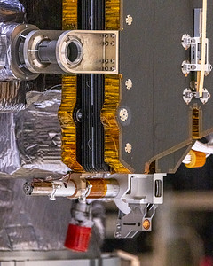 Close-up details of the solar panel assembly/deploy mechanism.