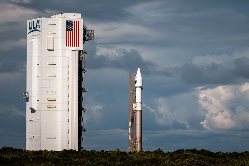 An Atlas V 401 with the Lucy spacecraft aboard, emerges from the VIF (vertical integration facility) at SLC-41 on October 14th, 2021.