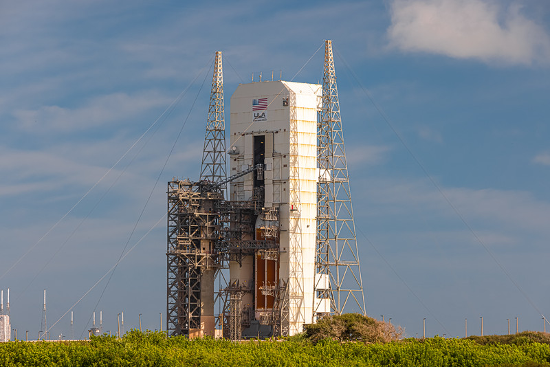 Delta IV Heavy nestled in its Mobile Service Tower before launch of the NROL-44 mission for the National Reconnaissance Office