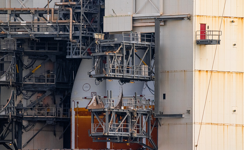 Close up of Delta IV Heavy in the MST