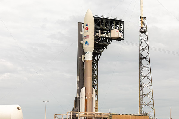 Atlas V vertical at SLC-41 ready to launch the Mars Perseverance rover for NASA.