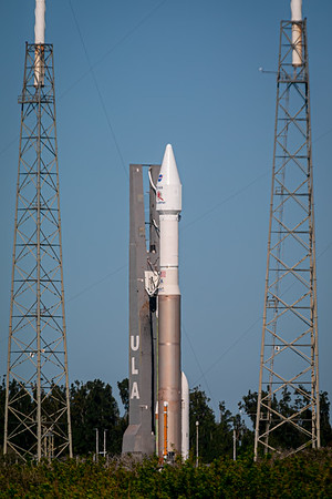 The Atlas V with the joint ESA/NASA Solar Orbiter spacecraft atop entering the pad perimeter at SLC 41.