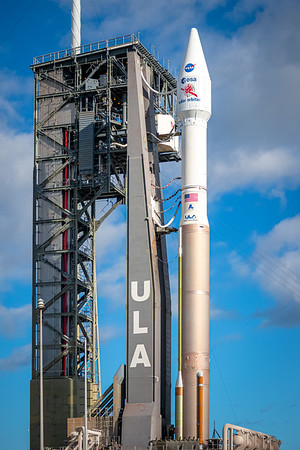 Sunrise at SLC 41 where the joint ESA/NASA Solar Orbiter spacecraft sits atop an Atlas V rocket, ready to be launched.