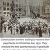 A 1931 photo of construction workers waiting for their Christmas paychecks around the tree.