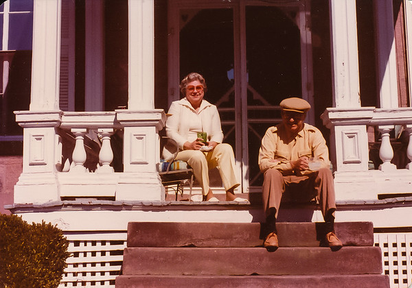 James and Margaret Mann on their front porch
