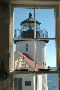 #454  The Curtis Island Lighthouse viewed from inside the lighthouse keeper's cottage, in Camden, Maine.  (Available only as a signed print direct from Neil)