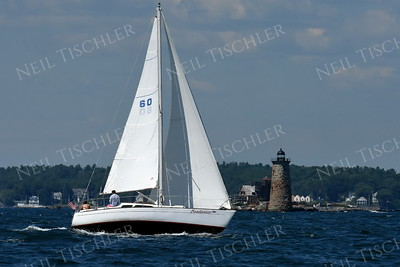 #1197   Sailboat passing Whaleback Light at Kittery, Maine