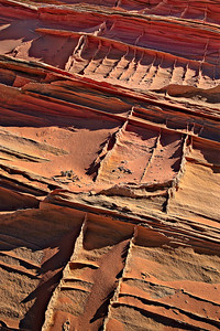 Calcite (?) filled fractures crosscutting Navajo Sandstone crossbedding Coyote Buttes South