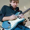 Shawn Starsky of Jason Ricci and New Blood plays his blue Blues guitar at the 2008 Mt. Baker Blues Festival. Shawn was voted one of the ten top hot young guitarists in the U.S. by Guitar magazine.