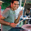 """Marc Ford and the Neptune Blues Club played to an enthusiastic crowd at the Mt. Baker Blues Festival. Drummer Anthony """"Antoine"""" Arvisu demonstates the enthusiasm of the band."""