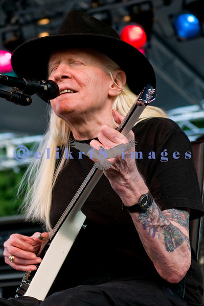 Johnny Winter at the Mt Baker Blues Festival. A master of the slide guitar and the Texas blues, he played to the largest audience that I have seen at the festival.