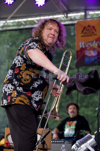 The Randy Oxford Band with trombone, 2 guitars, bass, drums and vocalist put on a high energy performance for the audience on Saturday afternoon July 31.