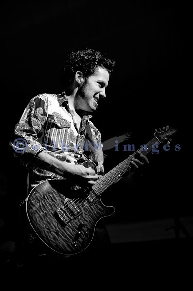Hamilton Loomis and his band from Texas headline Friday night's stage at the 2011 Mt. Baker Rhythm and Blues Festival. Energetic and youthful, he did leaps and jumps even flying into the audience from a 4 foot plus tall stage. Hamilton Loomis, electric guitar and vocals