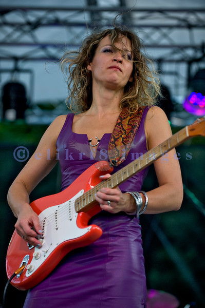 The Ana Popovic Band, from Holland, performing July 30, 2011 in a Saturday evening slot at the Mt. Baker Rhythm and Blues Festival. Ana Popovic, electric guitar and vocals