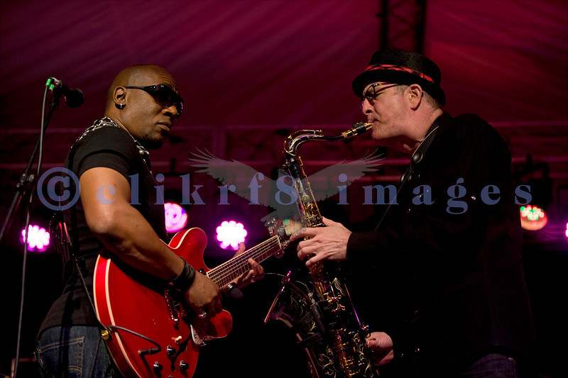 """The Average White Band, whose hits include """"Pick Up The Pieces"""", headlined Saturday night, July 30, 2011 at the Mt. Baker Rhythm and Blues Festival. Klyde Jones, rhythm guitar and vocals; Fred """"Freddy V"""" Vigdor, saxophone"""