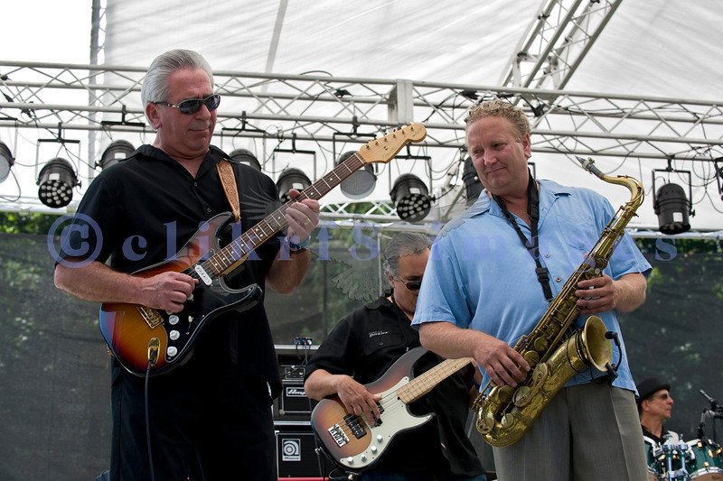"""Comprised of veteran blues musicians, the James King And The Southsiders band impressed the crowd with their brand of Texas roadhouse blues on Saturday, July 30, 2011. Steve Blood, electric guitar; """"Bermuda"""" Dave, bass; James King, saxophone; """"Sweet Billy"""" Spaulding, drums"""