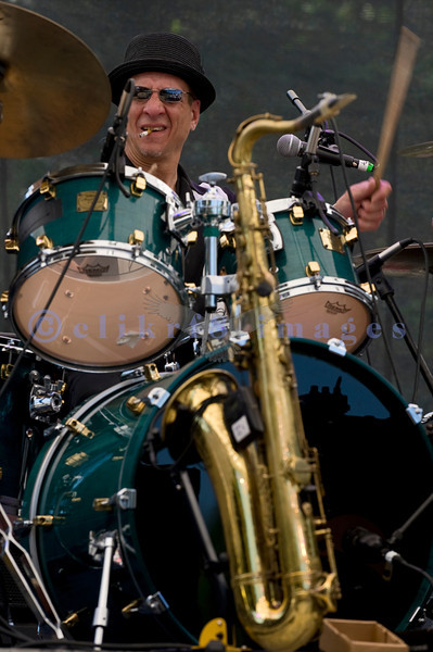 """Comprised of veteran blues musicians, the James King And The Southsiders band impressed the crowd with their brand of Texas roadhouse blues on Saturday, July 30, 2011. """"Sweet Billy"""" Spaulding, drums"""