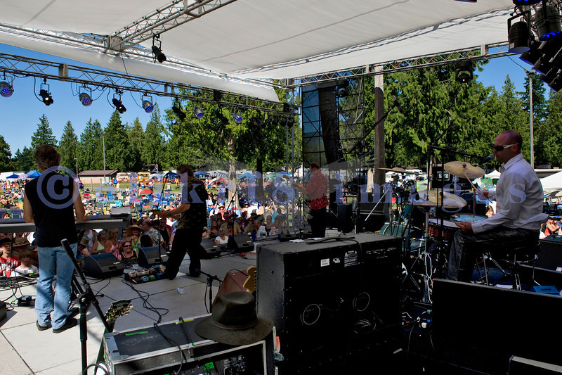 The Fat Tones from Spokane, Washington perform at the Mt. Baker Rhythm and Blues Festival on Saturday, July 30, 2011. Bobby Patterson, electric guitar and vocals; Zach Cooper, drums and vocals, Bob Ehrgott, bass guitar and vocals; David Christensen: keyboards and vocals; Jess Coons: harmonica