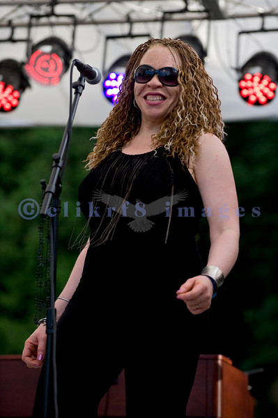 The Curtis Salgado Band, whose namesake survived cancer, performed with a full ensemble at the Mt. Baker Rhythm and Blues Festival in Deming, Washington. LaRhonda Steele: backing vocals