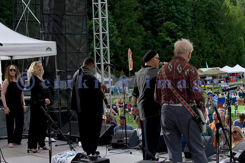 The Curtis Salgado Band, whose namesake survived cancer, performed with a full ensemble at the Mt. Baker Rhythm and Blues Festival in Deming, Washington. Curtis Salgado: vocals & harmonica; Franck Goldwaser: guitar; Tracy Arrington: bass; Margaret Linn: backing vocals; LaRhonda Steele: backing vocals