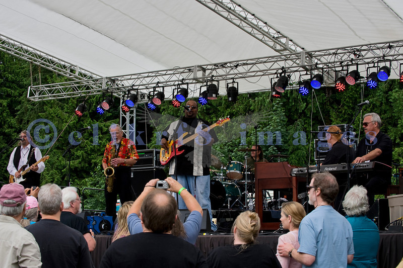 The Fat James Band, legendary Pacific Northwest Washington blues band, reunited with the entire original members for the crowd on Sunday, July 31. Joining the band later on stage were Mark Chapman and Sweet Talkin' Jones. Tracy Arrington bass; Chip Hart, drums; Dave Cashin, keyboards; Fat James, electric guitar and vocals