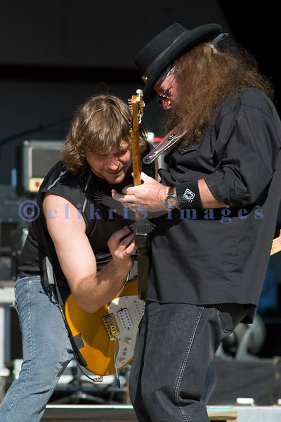 David Coyle, studio and live guitarist with Randall Hall of Lynyrd Skynyrd of the World Classic Rockers share the stage at the Chippewa Valley Rock Festival.