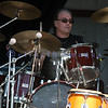Original drummer of Journey, Aynsley Dunbar hits the drum during the whole set with the World Classic Rockers at the Chippewa Valley Rock Festival.