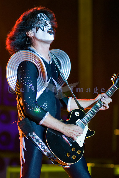 Tommy Thayer of KISS rocks the crowd at the Chippewa Valley Rock Festival in Cadott, Wisconsin in 2007 as the headliners on the prime Saturday night slot.