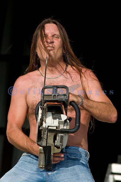 Wild and crazy frontman Jesse James Dupree of Jackyl performs at the 2008 Chippewa Valley Rock Festival in Cadott, Wisconsin with his sidekick, a Stihl chainsaw.