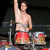 Speedo-clad Jackyl drummer Chris Worley at the 2008 Chippewa valley Rock Festival in Cadott, Wisconsin.