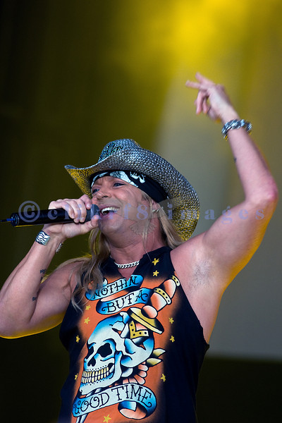 """Bret Michaels, frontman for Poison and star of """"Rock of Love"""" on stage at the Chippewa Valley Rock Festival on Thursday afternoon."""