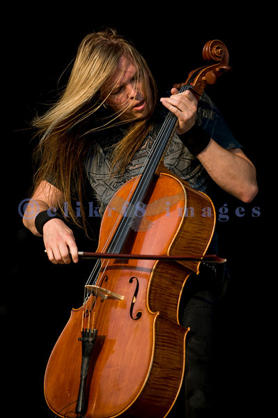 """Apocalyptica, a Finnish band featuring drummer plus 3 classically trained cello players mesmerized the audience at the Chippewa Valley Rock Festival on Thursday July 15. Apocalyptica's Eino Matti """"Eicca"""" Toppinen at the Chippewa Valley Rock Festival Thursday July 15, 2010"""