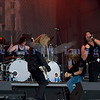"Slaughter, glam rock band from the 80s, started the national act lineup Thursday at the Chippewa Valley Rock Festival in Cadot, WI. Jeff ""Blando"" Bland, guitar; Mark Slaughter, vocals; Blas Elias, drums; Dana Strum, bass"