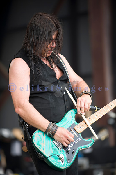 Slaughter, glam rock band from the 80s, started the national act lineup Thursday at the Chippewa Valley Rock Festival in Cadot, WI. Mark Slaughter, vocals