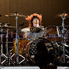 """Oklahoma band Hinder whose hits include """"Get Stoned"""" and """"Lips of an Angel"""", performed for the second time on the stage at the Chippewa Valley Rock Festival in Cadot, WI. Cody Hanson, drums"""