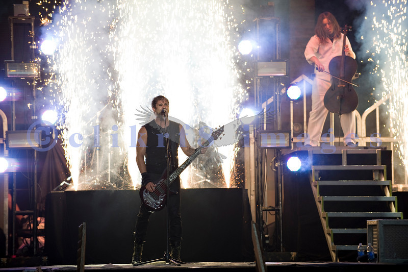 Back for a second year in a row, Christian rock band Skillet, was again a crowd favorite with their stage show of moving pedestals, pyros, and talented musicians at the Chippewa Valley Rock Festival in Cadot, WI. John Cooper, vocals and bass; Tate Olsen, cello