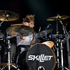 Back for a second year in a row, Christian rock band Skillet, was again a crowd favorite with their stage show of moving pedestals, pyros, and talented musicians at the Chippewa Valley Rock Festival in Cadot, WI. Jen Ledger, drums