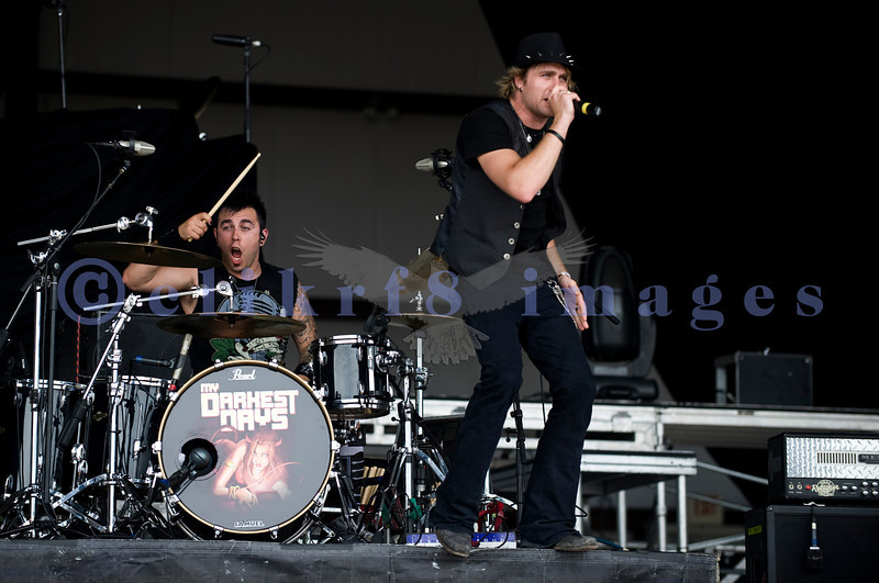 My Darkest Days, discovered by Chad Kroeger of Nickelback started Saturday's entertainment at the Chippewa Valley Rock Festival in Cadot. Doug Oliver, drummer; Matt Walst, vocals