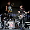 My Darkest Days, discovered by Chad Kroeger of Nickelback started Saturday's entertainment at the Chippewa Valley Rock Festival in Cadot. Doug Oliver, drummer;  Reid Henry, guitar