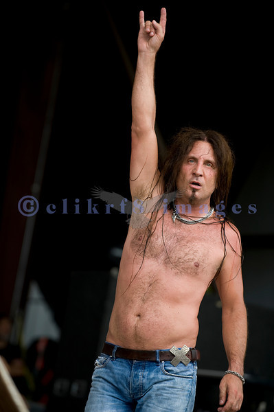 Chainsaw wielding Jackyl frontman Jesse James Dupree reprised his role from several years ago at the Chippewa Valley Rock Festival in Cadot, WI. Jesse James Dupree, vocals